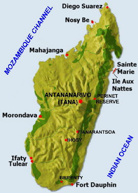 Map of Madagascar- history of the Coton de Tulear